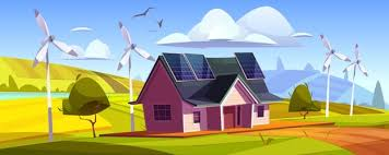 Free Vector   House with solar panels and wind mills. eco home