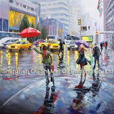 girl with red umbrella rain street new york scenery paintings hand painted knife landscape painting on