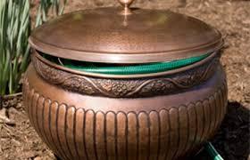 garden hose storage pot. floral copper hose pot and lid garden storage n