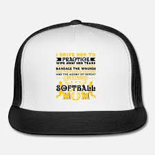 Softball Player Coach Fan Funny Quotes Trucker Cap Whiteblack