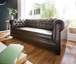 Sofa Chesterfield 200x90 Cm Braun Abgesteppt 3 Sitzer In