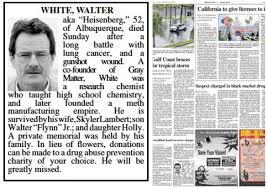 Albuquerque Newspaper Runs Breaking Bad Obituary The Atlantic