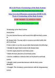 Hcs 120 Week 4 Terminology Of The Body Systems By Fasi1 Issuu