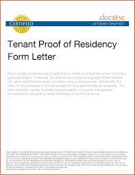 Proof Of Residency Letter Sample Systematic Photos Tenant Form