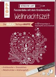 Maxi Vorlagenmappe Fensterdeko Mit Dem Kreidemarker Weihnachtszeit Inkl Original Kreul Kreidemarker Sticker Und Glitzer Steinchen