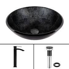 black vessel sink. Unique Black VIGO Glass Vessel Sink In Gray Onyx And Duris Faucet Set Matte Black In