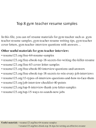 Top 8 gym teacher resume samples In this file, you can ref resume materials  for ...