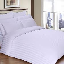 white 100 stripe tc400 egyptian cotton duvet cover pillow cases set all sizes