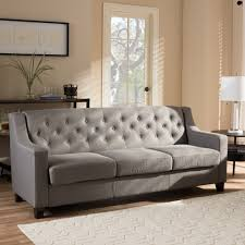 Tufted Living Room Furniture Baxton Studio Arcadia Modern And Contemporary Grey Fabric