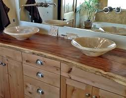 natural wood bathroom vanity onyx vessel sinks on edge slab top o98