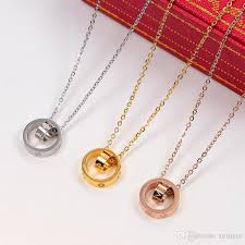 whole 2018 love dual circle pendant rose gold silver color necklace for women vintage collar costume jewelry with original box set gold jewelry rose