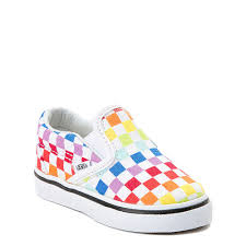 Vans Toddler Size Chart Inches Vans Slip On Rainbow Checkerboard Skate Shoe Baby Toddler Multi