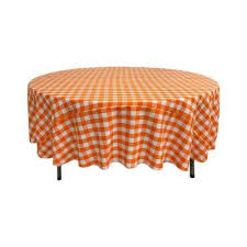 90 in white and orange polyester gingham checd round tablecloth