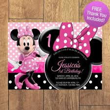Free Minnie Mouse Birthday Invitations Minnie Mouse Birthday Invitation Free Thank You Included
