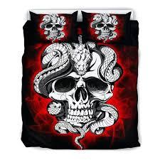 skull bedding set 1 black queen king bed