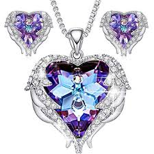 details about jewelry angel wing crystal pendant necklaces purple heart of ocean silver stud