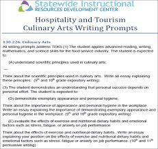 resource groups culinary arts statewide instructional resources  culinary arts writing prompts