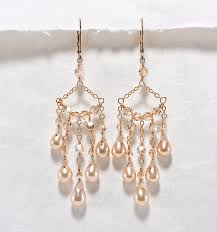 bridal chandelier earrings champagne wedding jewelry crystal pearl chandelier bridal earrings gold