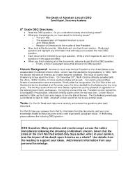 the death of abraham lincoln dbq th grade worksheet lesson planet