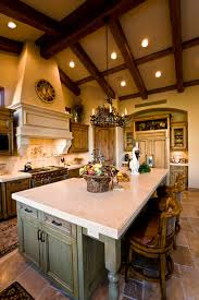 Along with rich hardwoods and polished fixtures, distressed pieces also  work well in the Mediterranean