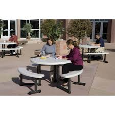 lifetime 44 round picnic table 2 unbrella insert swing out attached benches