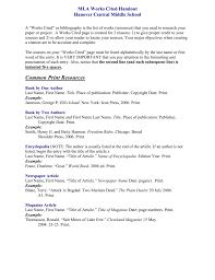 Mla Works Cited Page Sample For Middle School Mla Template