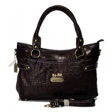 Coach In Embossed Medium Coffee Satchels BIX