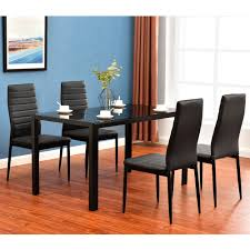 modern 5 pieces dining table set gl top dining table chair set for 4 person