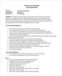 Store Manager Job Description Resume Outathyme Com