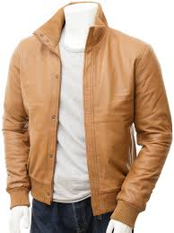 men s tan leather er jacket cheriton open