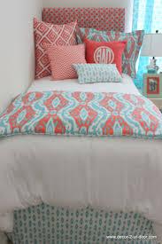 Coral & Aqua Ikat Dorm Bed Scarf