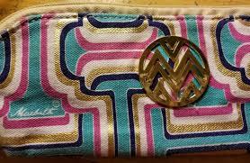 vine new macbeth canvas makeup cosmetic bag mod geometric colors nos 9 89