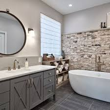 transitional bathroom ideas.  Bathroom Example Of A Midsized Transitional Master Gray Tile And Travertine  Ceramic Floor And Transitional Bathroom Ideas M