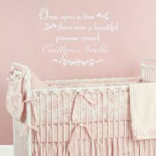 princess vinyl wall decal once upon a time wall quote personalized with name for girl on baby girl wall art quotes with girls room wall decal personalized with from fleurish walls