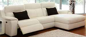Longmont 2 seater leather lounge with chaise