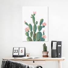 green plant cactus decorative wall art painting sofa background home decor 1