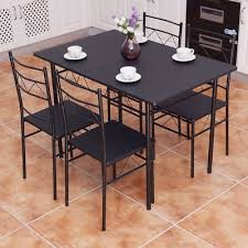 dining table set 5 piece 4 chairs wood metal kitchen breakfast furniture black