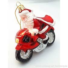 Motorrad Bike Nikolaus Weihnachtsmann Glas Weihnachtsschmuck