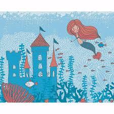 wals0378 mermaid castle wall mural