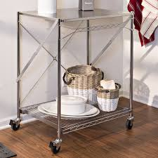 Kitchen Work Table On Wheels Attractive Kitchen Cart Stainless Steel 4 Stylish Casters Metal