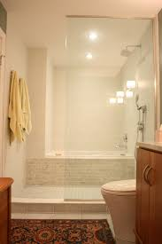 Shower Bathroom Bath Shower Combo Stand Up Shower With A Soaking Tub Behind It