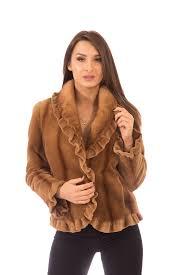 sheared mink fur coat jacket with mink collar