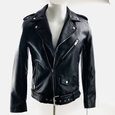 new guess mens asymmetrical faux leather motorcycle jacket black small nwt