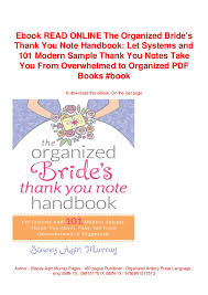 Ebook Read Online The Organized Brides Thank You Note