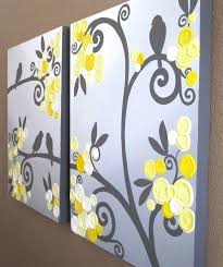 yellow and grey painting wall art yellow grey flowers and birds textured acrylic painting on canvas
