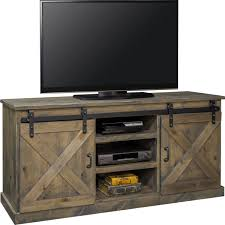 farmhouse 66 tv stand console in distressed barnwood w sliding barn doors