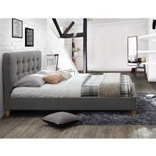 STOCKHOLM UPHOLSTERED BED in Grey by Birlea | White and Grey Bedroom |  Exposed Beams |