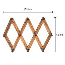 Metal Accordion Coat Rack 100 Hook Torched Wood Wall Mounted Expandable Accordion Peg Coat Rack 93