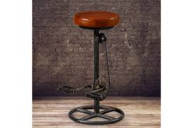 industrial biker pedal bar stool with brown leather seat