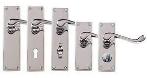 door handles with locks. Image Is Loading Polished-Chrome-Victorian-Scroll-Door-Handles-LOCK-LATCH- Door Handles With Locks E